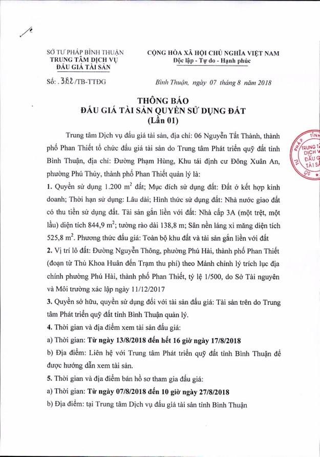 Ngày 30/8 đấu giá quyền sử dụng đất và tài sản gắn liền với đất tại thành phố Phan Thiết, Bình Thuận - ảnh 1
