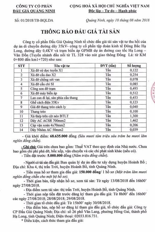Ngày 30/8/2018, đấu giá vật tư thu hồi tại Quảng Ninh - ảnh 1