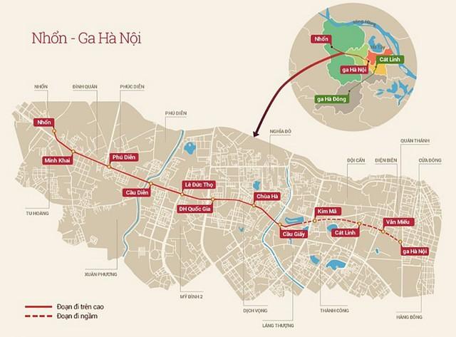 Sơ đồ các đoạn tuyến của đường sắt đô thị số 2 Hà Nội