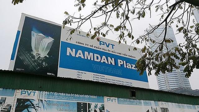 Dự án Nam Đàn Plaza nằm ở vị trí đắc địa từng treo biển do Công ty cổ phần Địa ốc Dầu khí viễn thông làm chủ đầu tư.