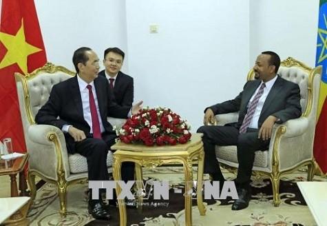 Thủ tướng Ethiopia Abiy Ahmed và Chủ tịch nước Trần Đại Quang.