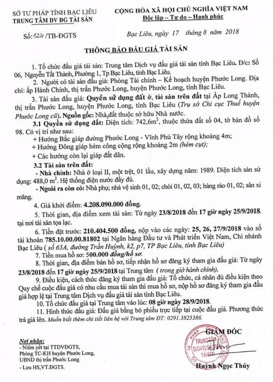 Ngày 28/9/2018, đấu giá quyền sử dụng đất và tài sản trên đất tại huyện Phước Long, Bạc Liêu - ảnh 1