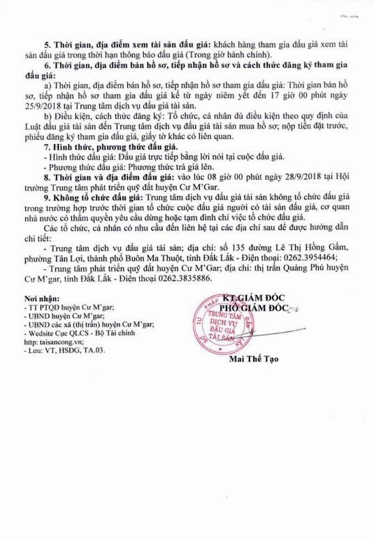 Ngày 28/9/2018, đấu giá quyền sử dụng 19 thửa đất tại huyện Cư M'Gar, tỉnh Đắk Lắk - ảnh 2