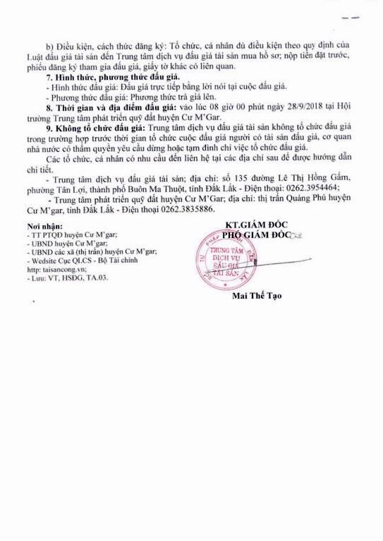 Ngày 28/9/2018, đấu giá quyền sử dụng 21 thửa đất tại huyện Cư M'Gar, Đắk Lắk - ảnh 2