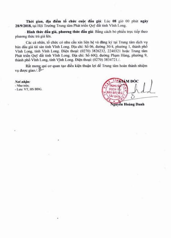 Ngày 28/9/2018, đấu giá quyền sử dụng đất tại thành phố Vĩnh Long, Vĩnh Long - ảnh 2