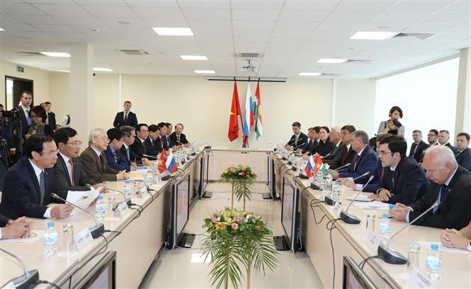 Tổng Bí thư Nguyễn Phú Trọng làm việc tại tỉnh Kaluga. Ảnh: TTXVN
