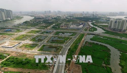 Hạ tầng nội khu của Khu đô thị mới Thủ Thiêm. Ảnh: TTXVN