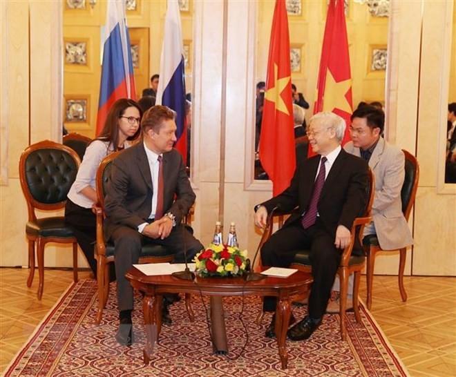Tổng Bí thư Nguyễn Phú Trọng tiếp Chủ tịch Hội đồng Điều hành Tập đoàn Gazprom, ông Alexei Miller.