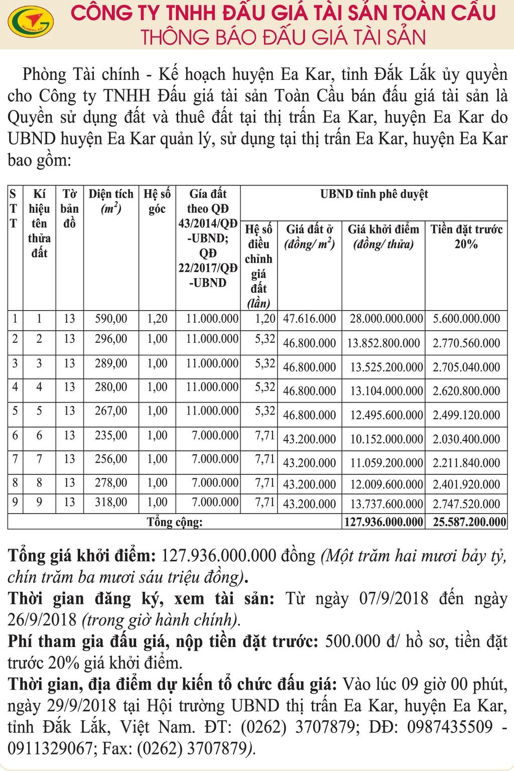 Ngày 29/9/2018, đấu giá quyền sử dụng đất và thuê đất tại huyện Ea Kar, Đắk Lắk - ảnh 1