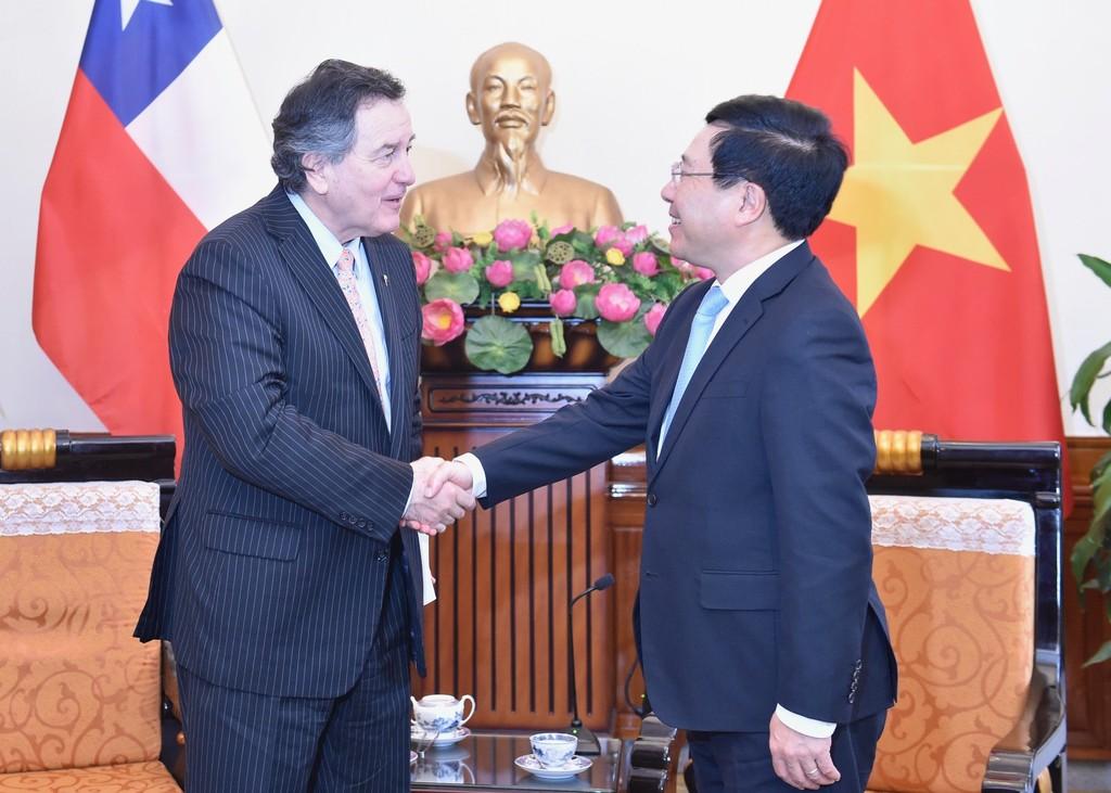 Phó Thủ tướng Phạm Bình Minh tiếp Bộ trưởng Ngoại giao Chile. Ảnh: VGP