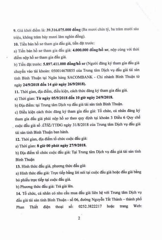 Ngày 27/9/2018, đấu giá quyền sử dụng đất tại thành phố Phan Thiết, Bình Thuận - ảnh 2