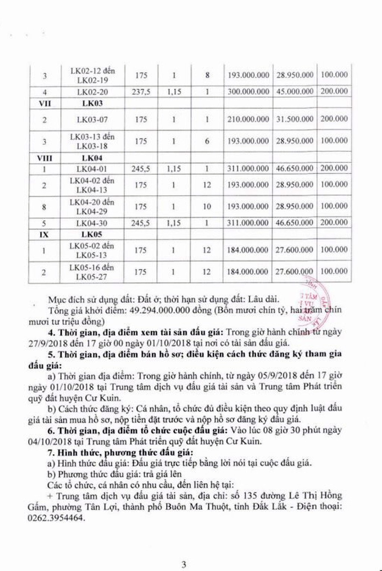 Ngày 4/10/2018, đấu giá quyền sử dụng đất tại huyện Cư Kuin, Đắk Lắk - ảnh 3