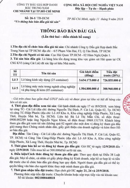 Ngày 26/9/2018, đấu giá hàng tồn trong khu vực giám sát hải quan Cát Lái (TPHCM) - ảnh 1