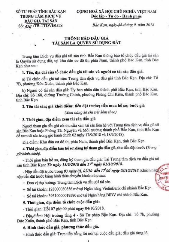 Ngày 4/10/2018, đấu giá quyền sử dụng đất tại thành phố Bắc Kạn, Bắc Kạn - ảnh 1