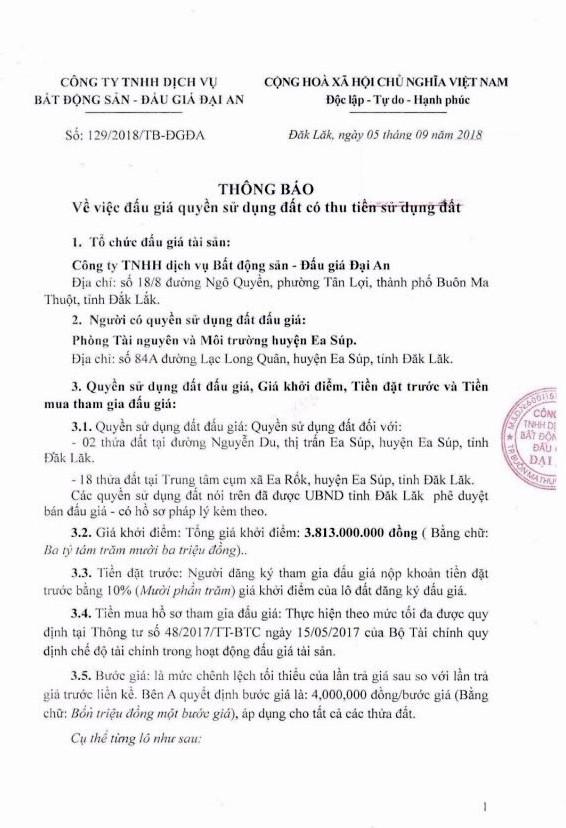 Ngày 11/10/2018, đấu giá quyền sử dụng đất tại huyện Ea Súp, tỉnh Đắk Lắk - ảnh 1