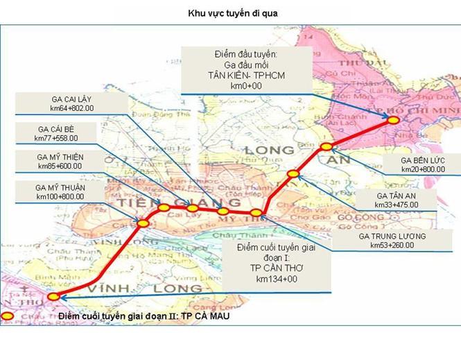 Sơ đồ hướng tuyến đường sắt TP HCM - Cần Thơ