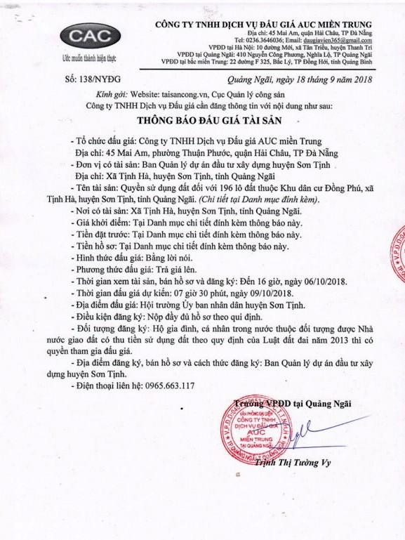 Ngày 9/10/2018, đấu giá quyền sử dụng đất tại huyện Sơn Tịnh, tỉnh Quảng Ngãi - ảnh 1