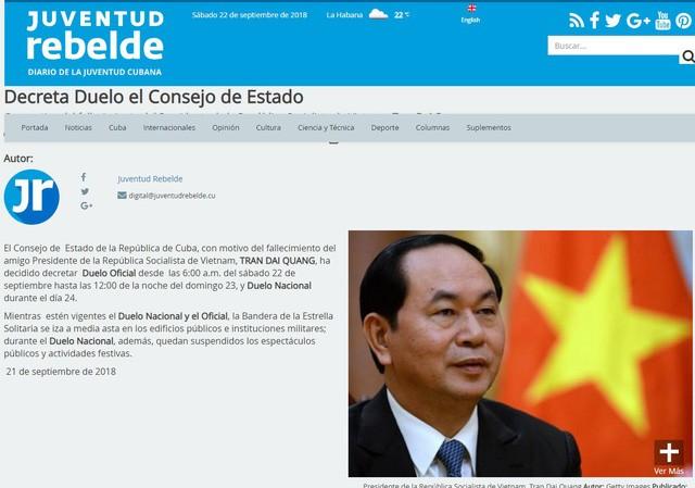 Cuba để quốc tang tưởng niệm Chủ tịch nước Trần Đại Quang - ảnh 1