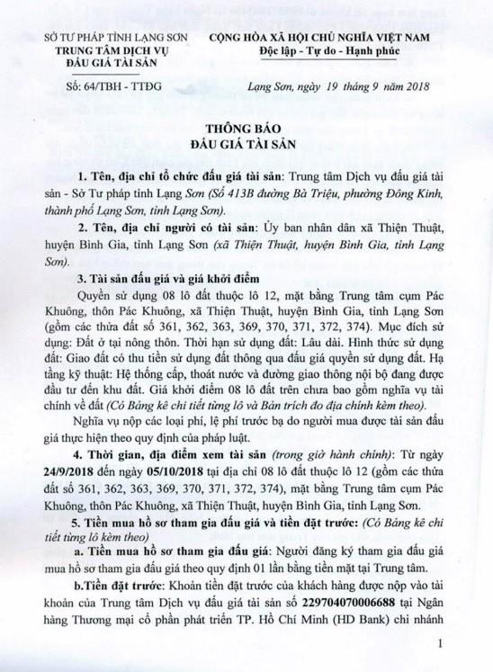 Ngày 18/10/2018, đấu giá quyền sử dụng 8 lô đất tại huyện Bình Gia, tỉnh Lạng Sơn - ảnh 1