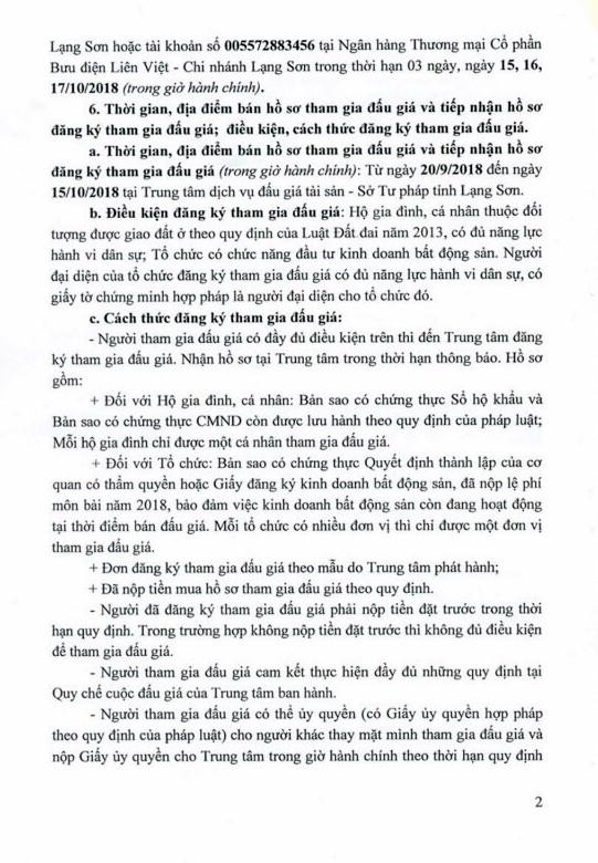 Ngày 18/10/2018, đấu giá quyền sử dụng 8 lô đất tại huyện Bình Gia, tỉnh Lạng Sơn - ảnh 2