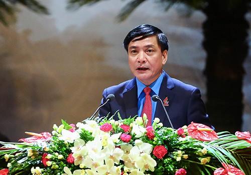 Ông Bùi Văn Cường phát biểu tại Đại hội Công đoàn toàn quốc. Ảnh: LĐLĐ