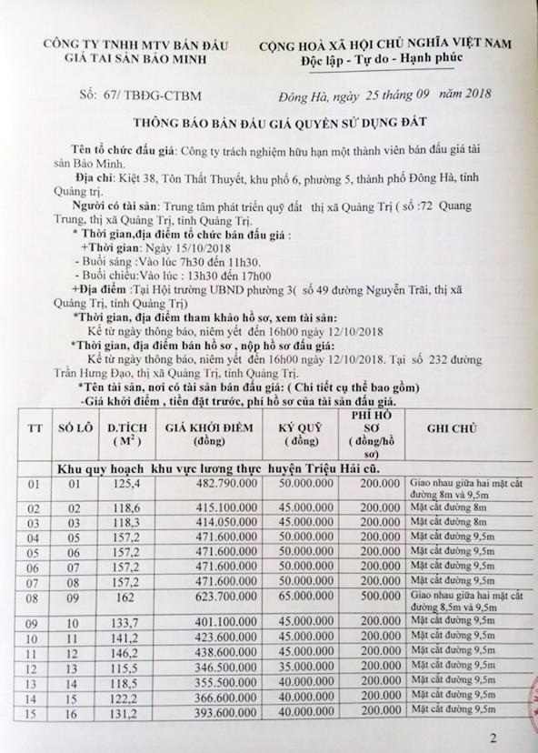 Ngày 15/10/2018, đấu giá quyền sử dụng đất tại thị xã Quảng Trị, Quảng Trị - ảnh 1