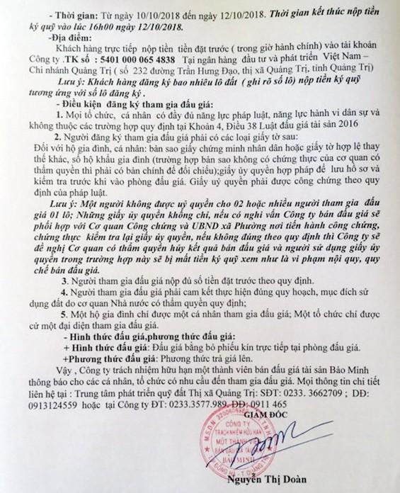Ngày 15/10/2018, đấu giá quyền sử dụng đất tại thị xã Quảng Trị, Quảng Trị - ảnh 3