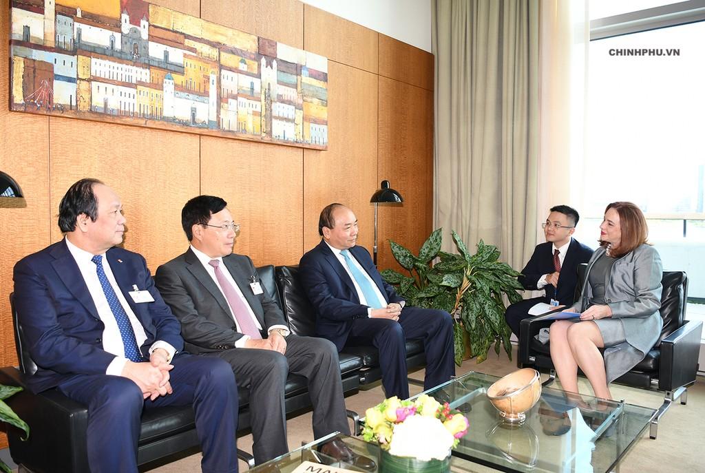 Thủ tướng Nguyễn Xuân Phúc Trao đổi với Chủ tịch Đại hội đồng Liên Hợp Quốc Maria Fernanda Espinosa Garces - Ảnh: VGP