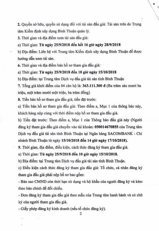 Ngày 18/10/2018, đấu giá cho thuê quyền sử dụng chung cư tại thành phố Phan Thiết, Bình Thuận - ảnh 2