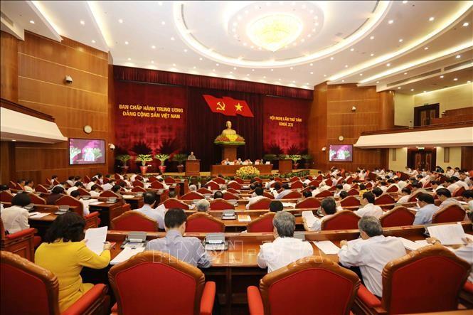 Toàn cảnh Hội nghị lần thứ 8 Ban Chấp hành Trung ương Đảng khóa XII. Ảnh: TTXVN
