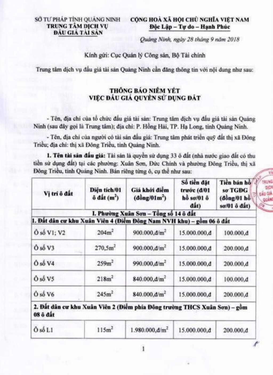 Ngày 19/10/2018, đấu giá quyền sử dụng 33 lô đất tại thị xã Đông Triều, tỉnh Quảng Ninh - ảnh 1