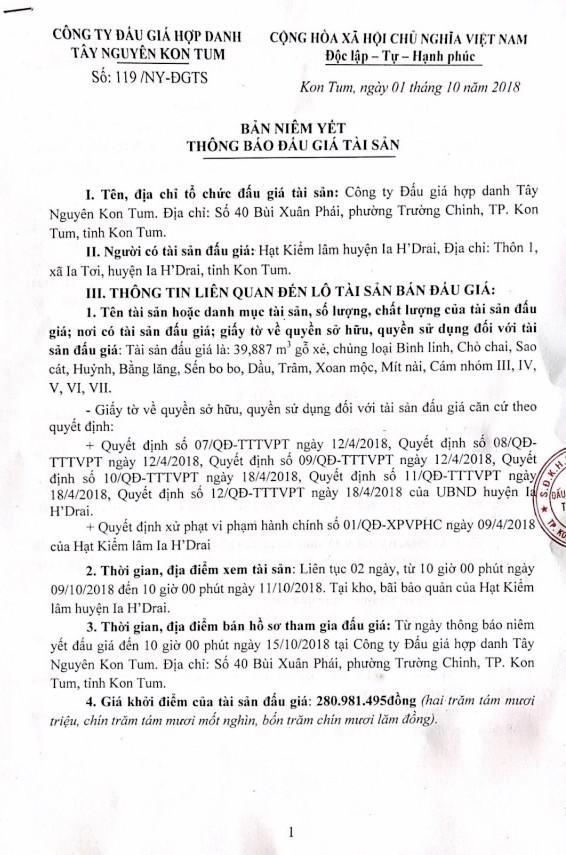 Ngày 18/10/2018, đấu giá 39,887 m3 gỗ xẻ tại tỉnh Kon Tum - ảnh 1