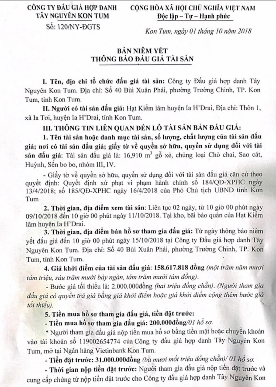 Ngày 18/10/2018, đấu giá 16,910 m3 gỗ xẻ tại tỉnh Kon Tum - ảnh 1