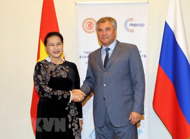 Chủ tịch Quốc hội NguyễnThị Kim Ngân gặp Chủ tịch Duma Quốc gia Nga Vyacheslav Volodin. Ảnh: TTXVN
