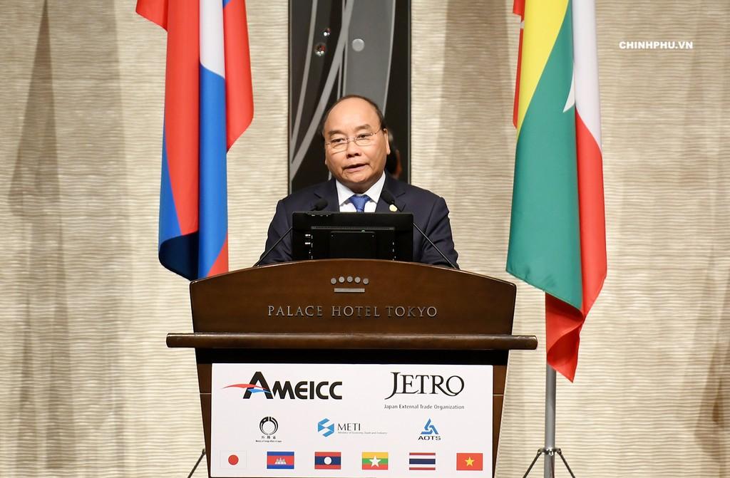 Thủ tướng Nguyễn Xuân Phúc phát biểu tại Diễn đàn đầu tư Mekong-Nhật Bản. Ảnh: VGP