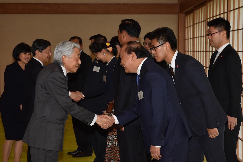 Nhật hoàng tiếp đón Thủ tướng Nguyễn Xuân Phúc và lãnh đạo các nước Mekong. Ảnh: Hoàng cung Nhật Bản cung cấp