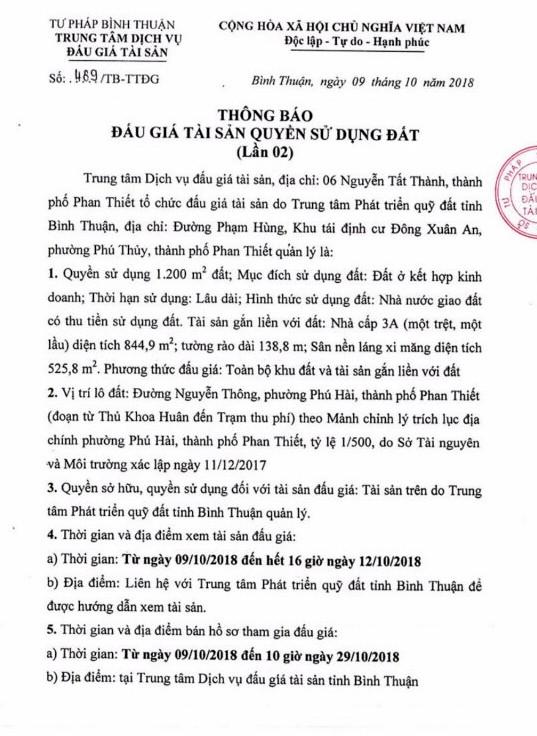 Ngày 1/11/2018, đấu giá quyền sử dụng đất tại thành phố Phan Thiết, Bình Thuận - ảnh 1