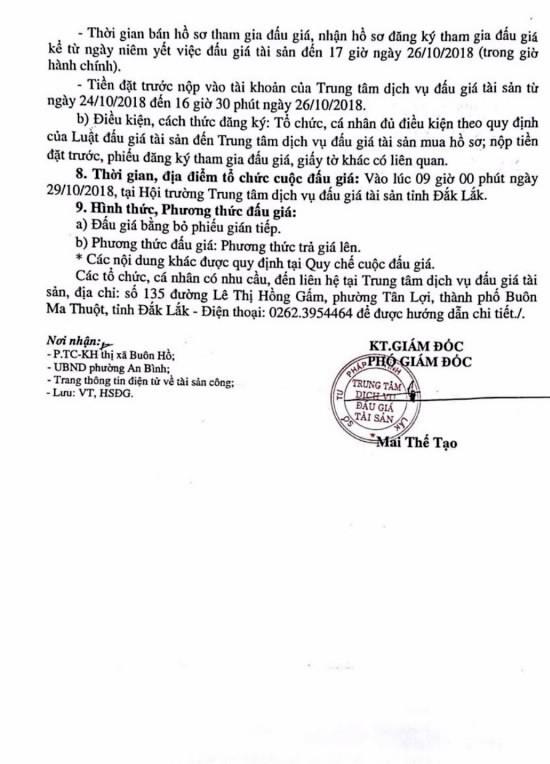 Ngày 29/10/2018, đấu giá quyền sử dụng đất tại thị xã Buôn Hồ, tỉnh Đắk Lắk - ảnh 2