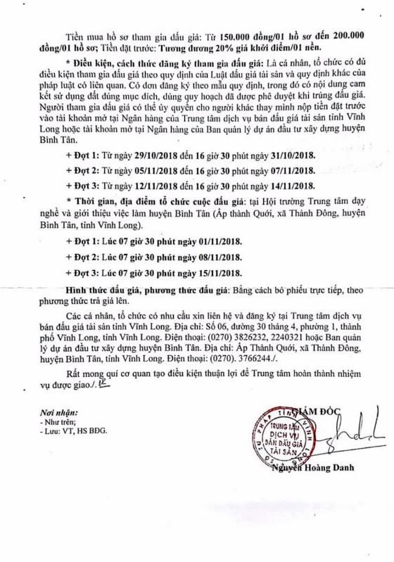 Ngày 1/11/2018, đấu giá quyền sử dụng đất tại huyện Bình Tân, tỉnh Vĩnh Long - ảnh 2