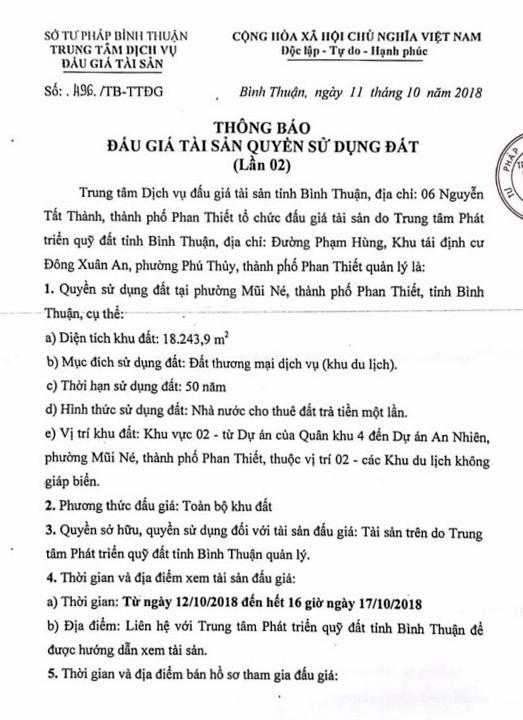 Ngày 07/11/2018, đấu giá quyền sử dụng đất tại thành phố Phan Thiết, tỉnh Bình Thuận - ảnh 1