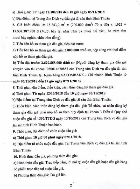 Ngày 07/11/2018, đấu giá quyền sử dụng đất tại thành phố Phan Thiết, tỉnh Bình Thuận - ảnh 2