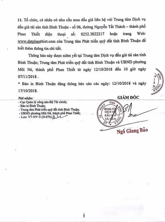 Ngày 07/11/2018, đấu giá quyền sử dụng đất tại thành phố Phan Thiết, tỉnh Bình Thuận - ảnh 3