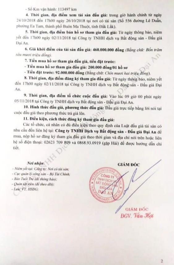 Ngày 5/11/2018, đấu giá xe ô tô Toyota Corolla Altis tại Đắk Lắk - ảnh 2