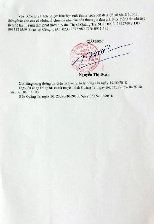 Ngày 15/11/2018, đấu giá quyền sử dụng đất tại thị xã Quảng Trị, tỉnh Quảng Trị - ảnh 5