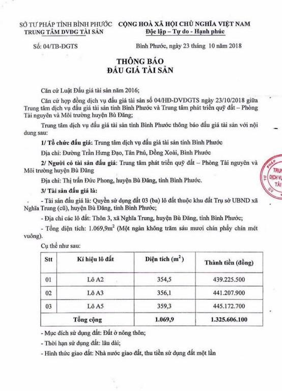 Ngày 16/11/2018, đấu giá quyền sử dụng 3 lô đất tại huyện Bù Đăng, tỉnh Bình Phước - ảnh 1