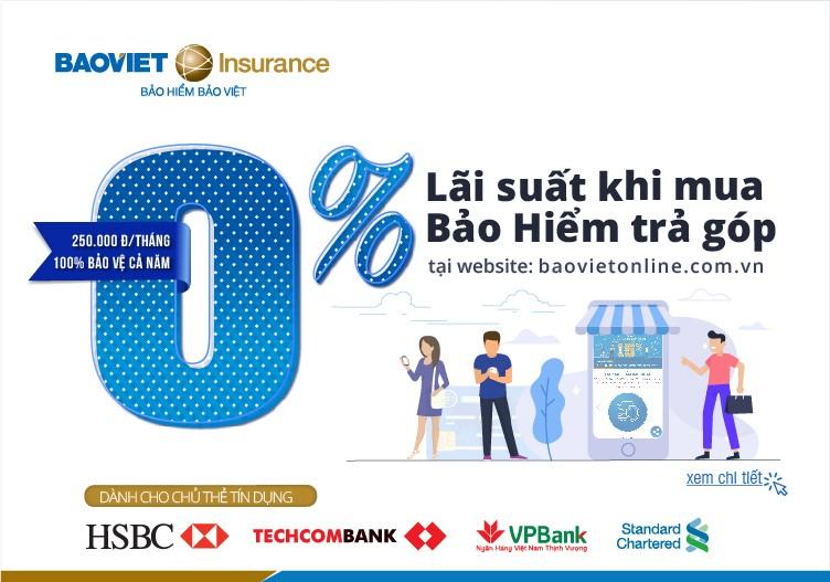 Bảo hiểm Bảo Việt ưu đãi mua bảo hiểm trả góp lãi suất 0%