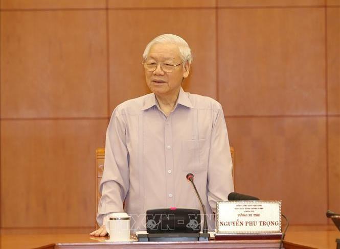 Tổng Bí thư, Chủ tịch nước Nguyễn Phú Trọng phát biểu tại phiên họp. Ảnh TTXVN