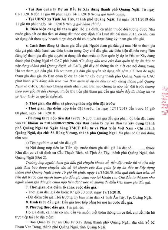 Ngày 17/11/2018, đấu giá quyền sử dụng 68 lô đất tại thành phố Quảng Ngãi, tỉnh Quảng Ngãi - ảnh 4