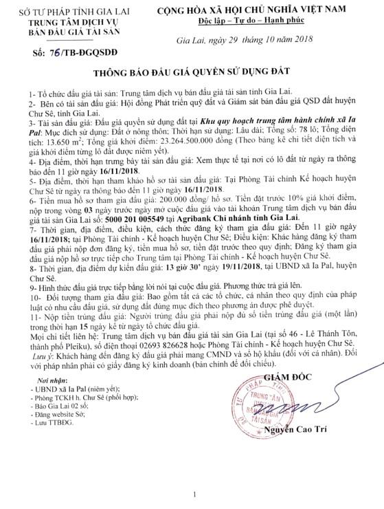 Ngày 19/11/2018, đấu giá quyền sử dụng đất tại huyện Chư Sê, tỉnh Gia Lai - ảnh 1