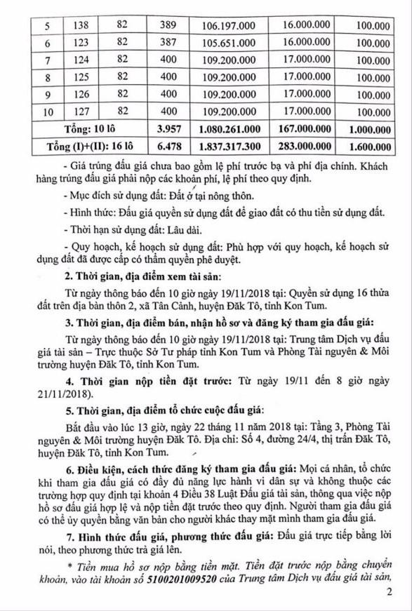 Ngày 22/11/2018, đấu giá quyền sử dụng 16 thửa đất tại huyện Đắk Tô, Kon Tum - ảnh 2